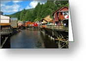 Colorful Buildings Greeting Cards - Ketchikan Creek Greeting Card by Michael Peychich