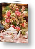 Mad Hatter Photo Greeting Cards - Kettle - More tea Milady  Greeting Card by Mike Savad