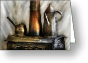 Kettle Greeting Cards - Kettle - The Kettle and Stove Greeting Card by Mike Savad