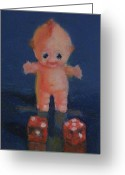 Dice Painting Greeting Cards - Kewpie on a Roll Greeting Card by Becky Alden