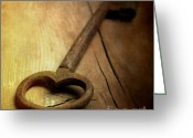 Wooden Board Greeting Cards - Key Greeting Card by Bernard Jaubert