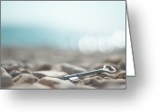Selective Greeting Cards - Key On Pebbles Greeting Card by Alexandre Fundone