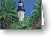 Nestled In Greeting Cards - Key West Lighthouse Greeting Card by Ann Iuen