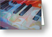 Musical Art Greeting Cards - Keyboard Rhythms Greeting Card by Susanne Clark