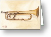 Trumpet Music Greeting Cards - Keyed Trumpet Greeting Card by Ken Powers