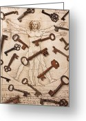 Rust Greeting Cards - Keys On Artwoork Greeting Card by Garry Gay
