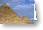 Archaeology Archeological Greeting Cards - Khephren Pyramid and The Great Pyramid Greeting Card by Sami Sarkis