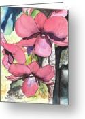 Tropical Island Greeting Cards - Kiahuna Orchids Greeting Card by Marionette Taboniar