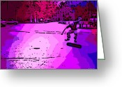 Kick Digital Art Greeting Cards - Kick Flip Greeting Card by George Pedro