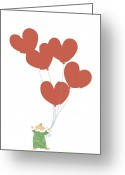 Pajamas Greeting Cards - Kid Squirrel Flying And Holding Heart Shaped Balloons Greeting Card by Meg Takamura