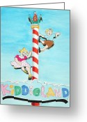 Pencil Drawing Greeting Cards - Kiddie Land Greeting Card by Glenda Zuckerman