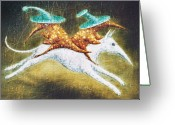 Fantasy Creatures Painting Greeting Cards - Kidnapping Greeting Card by Lolita Bronzini
