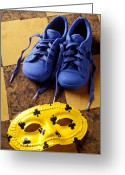 Footwear Greeting Cards - Kids blue shoes and mask Greeting Card by Garry Gay