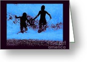 Surf Silhouette Digital Art Greeting Cards - Kids playing beachside Silhouette Greeting Card by Tisha McGee