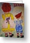 Babysitting Greeting Cards - Kiki and Davy Greeting Card by Phyllis Barrett
