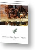 Ontario Mixed Media Greeting Cards - Killarney  Ontario Boathouse Poster Series Greeting Card by Bob Salo