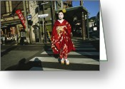 Kansai Triangle Greeting Cards - Kimono-clad Geisha Crosses A Street Greeting Card by Justin Guariglia