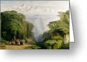 Snow Capped Painting Greeting Cards - Kinchinjunga from Darjeeling Greeting Card by Edward Lear