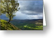 Grey Clouds Greeting Cards - Kinder Scout view Peak District Greeting Card by Lesley Carley