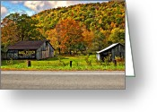 Chewing Tobacco Greeting Cards - Kindred Barns painted Greeting Card by Steve Harrington