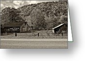 Chewing Tobacco Greeting Cards - Kindred Barns sepia Greeting Card by Steve Harrington