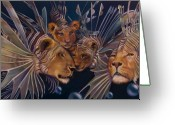 Lion Painting Greeting Cards - Kindred Lionfish Greeting Card by Patrick Anthony Pierson