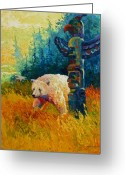 West Painting Greeting Cards - Kindred Spirits - Kermode Spirit Bear Greeting Card by Marion Rose