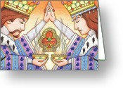 Karma Greeting Cards - King and Queen of Clubs Greeting Card by Amy S Turner