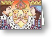 Spades Greeting Cards - King and Queen of Spades Greeting Card by Amy S Turner