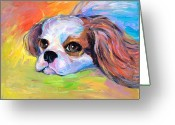 Custom Pet Portraits From Photos Drawings Greeting Cards - King Charles Cavalier Spaniel Dog painting Greeting Card by Svetlana Novikova
