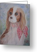 Spaniel Print Greeting Cards - King Charles Spaniel Greeting Card by Morgan Walsh