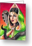 Jet Drawings Greeting Cards - King Cobra Greeting Card by Scarlett Royal