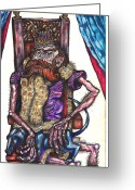 Clandestine Greeting Cards - King Crabclaw and His Blue Dachshund Greeting Card by Al Goldfarb