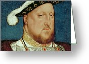 Royalty Greeting Cards - King Henry VIII Greeting Card by Hans Holbein the Younger