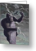Monster Art Greeting Cards - King Kong Plane Swatter Greeting Card by Martin Davey
