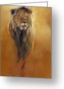 Lions Painting Greeting Cards - King Leo Greeting Card by Odile Kidd