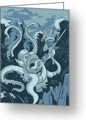 Sea Creature Greeting Cards - King Neptune Greeting Card by Michael Myers