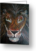 Lions Painting Greeting Cards - King Greeting Card by Nick Gustafson