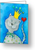 Childsroom Greeting Cards - King of Cats Greeting Card by Sonja Mengkowski