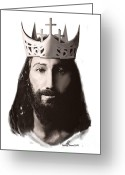 Photo-realism Digital Art Greeting Cards - King of Kings Greeting Card by Mervyn Toataua