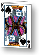 Spades Greeting Cards - King of Spades - v3 Greeting Card by Wingsdomain Art and Photography