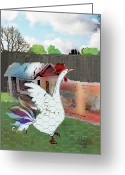 Hen Greeting Cards - King Of The Hen House Greeting Card by Arline Wagner