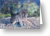 Spontaneous Greeting Cards - King Olive Tree Greeting Card by Paskalis Anastasi