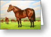 Quarter Horses Greeting Cards - King P-234 No.two Greeting Card by Howard Dubois