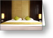 Chic Greeting Cards - King Size Bed Greeting Card by Atiketta Sangasaeng