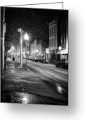 Carolina Greeting Cards - King Street Charleston Snow Greeting Card by Dustin K Ryan