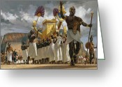 Aristocracy And Royalty Greeting Cards - King Taharqa Leads His Queens Greeting Card by Gregory Manchess