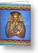 Woodworking Art Greeting Cards - KING TUT - Handcarved Greeting Card by Michael Pasko