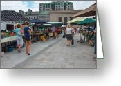 Downtown Kingston Greeting Cards - Kingston Farmers Market Greeting Card by Donna Sherbert