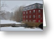 Kingston Greeting Cards - Kingston Mill in Winter Storm Greeting Card by Steven Richman